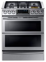 Samsung 5.8 Cu.Feet Slide-in Dual Fuel Range with Flex Duo Oven, Dual Door - NY58J9850WS