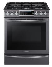 Samsung 5.8 Cu.Ft. Slide-In Gas Range Convection System Black Stainless Steel - NX58K9500WG