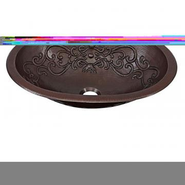 "Sinkology Pauling 19"" Dual-Mount Handmade Solid Copper Bathroom Sink with Scroll Design"