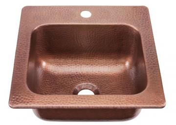 "Sinkology Seurat Drop In Handmade Pure Solid Copper 15"" 1-Hole Bar Prep Copper Sink"