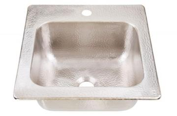 "Sinkology Homer Drop In Handcrafted 15"" 1-Hole Bar Prep Sink in Hammered Nickel"
