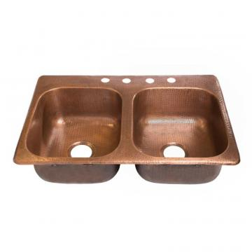 "Sinkology Raphael Drop-In Handmade Pure Copper 33"" 4-Hole Double Bowl Copper Sink in Antique Copper"