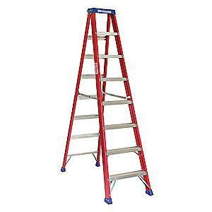 Westward 8 ft. 300 lb. Load Capacity Fiberglass Stepladder