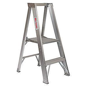 "Westward Aluminum Platform Stepladder, 2 ft. Ladder Height, 1 ft. 11"" Platform Height, 300 lb."