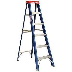 Westward 6 ft. 250 lb. Load Capacity Fiberglass Stepladder