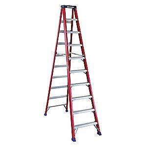 Westward 10 ft. 300 lb. Load Capacity Fiberglass Stepladder