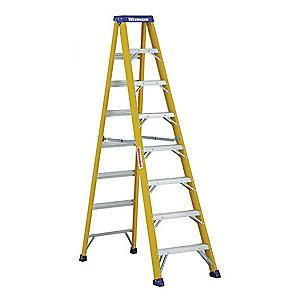 Westward 8 ft. 375 lb. Load Capacity Fiberglass Stepladder