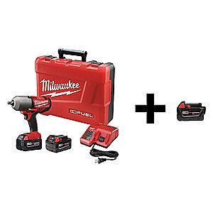 "Milwaukee Tool 1/2"" Cordless Impact Wrench Kit, 18.0V, 600 ft.-lb. Max. Torque"