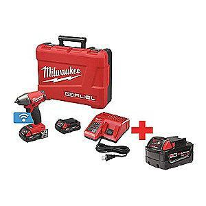 "Milwaukee Tool 3/8"" Square Cordless Impact Wrench Kit, 18.0V, 210 ft.-lb. Max. Torque"