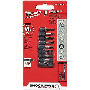 "Milwaukee Tool 9-Piece Screwdriver Bit Set, 1/4"" Hex Shank Size"