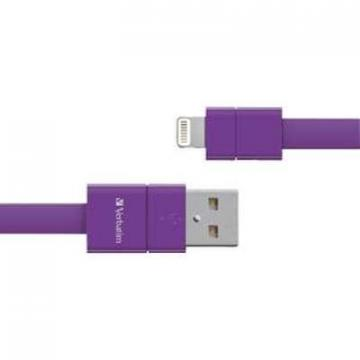 "Verbatim 7"" Sync CHG Lightning Cable Flat Purple"