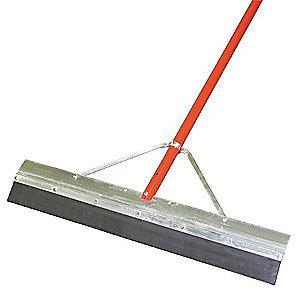 "Tough Guy 36""W Straight Neoprene Floor Squeegee With Handle, Black/Red"