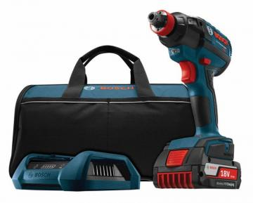 "Bosch 18 V EC Brushless 1/4"" Hex and 1/2"" Square Socket-Ready Impact Driver Wireless Charging Kit"