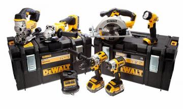 DeWalt 18V 4.0Ah Li-Ion XR Brushless 6-Piece Cordless Power Tool Kit 2x Tough System Kit Boxes
