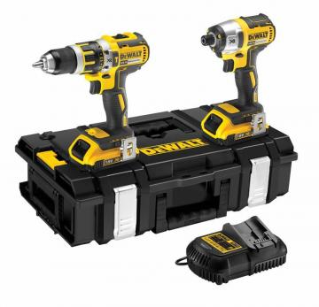 DeWalt 18V 2.0Ah Li-Ion Cordless Compact Hammer Drill & Impact Driver Twin Pack Tough System Kit