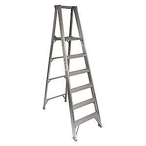 "Westward Aluminum Platform Stepladder, 6 ft. Ladder Height, 5 ft. 8"" Platform Height, 300 lb."