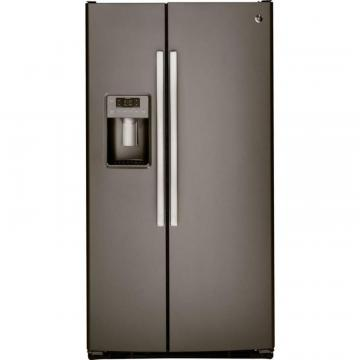 GE 25.4 cu. ft. Side-by-Side Refrigerator with Dispenser LED Lights and Ice Maker in Slate