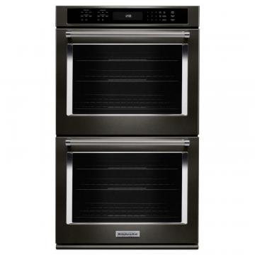 "KitchenAid Black Stainless, 30"" Double Wall Oven With Even-Heat True Convection"