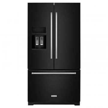 KitchenAid 26.8 cu. ft. Standard-Depth French Door Refrigerator with Exterior Ice and Water in Black