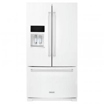 KitchenAid 26.8 cu. ft. Standard-Depth French Door Refrigerator with Exterior Ice and Water in White
