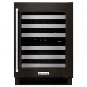 "KitchenAid Black Stainless, 24"" Wine Cellar With Glass Door And Metal-Front Racks"