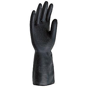 MCR Safety 30.00 mil Neoprene Chemical Resistant Gloves, Flock Lining, Black, Size L