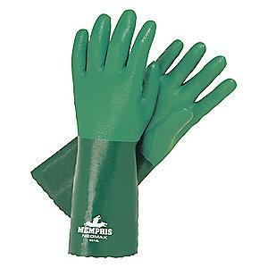 MCR Safety 11.00 mil Neoprene Chemical Resistant Gloves, Brushed Interlock Lining, Green, Size S