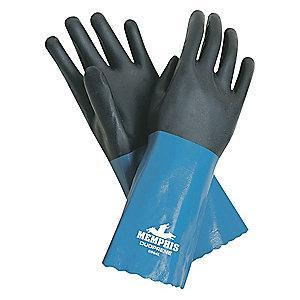 MCR Safety 53.00 mil Neoprene Chemical Resistant Gloves, Interlock Lining, Blue/Black, Size L