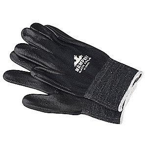 MCR Safety Nitrile Cut Resistant Gloves, ANSI/ISEA Cut Level A4 Lining, Black, L, PR 1