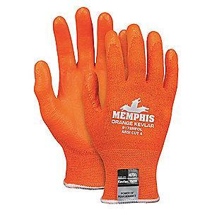 MCR Safety Nitrile Cut Resistant Gloves, ANSI/ISEA Cut Level A4 Lining, Orange, S, PR 1