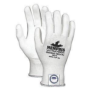MCR Safety Polyurethane Cut Resistant Gloves, ANSI/ISEA Cut Level A3, HPPE Lining, White, XL, PR 1