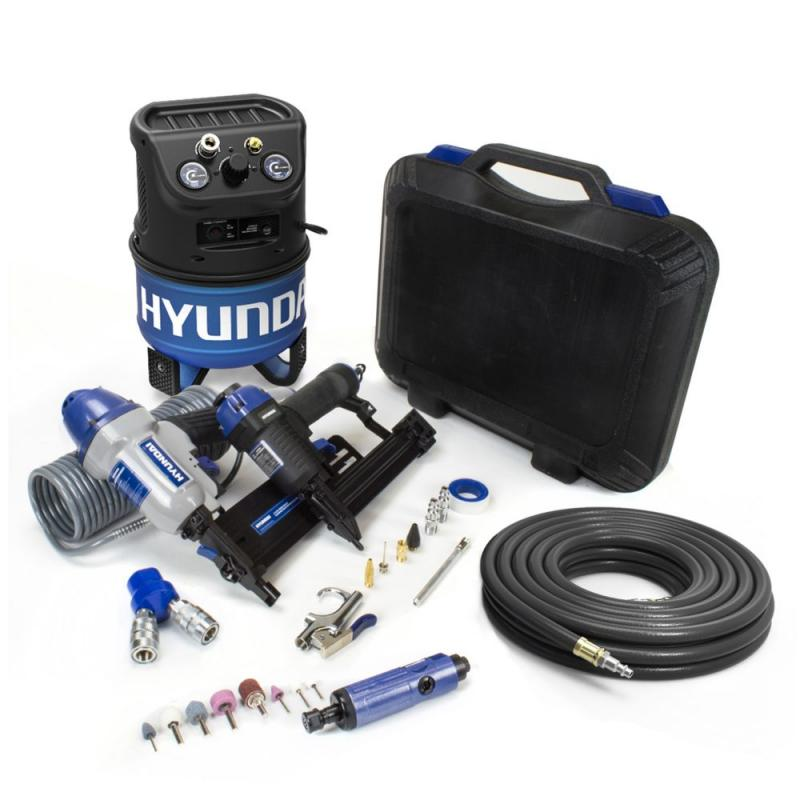 Hyundai 2 Gal. Portable Electric Air Compressor With 7-Tool DIY Kit