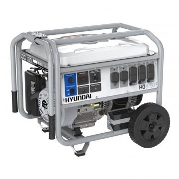 Hyundai 8,750 Watt Electric Start Gas Powered Portable Generator With Wheel Kit