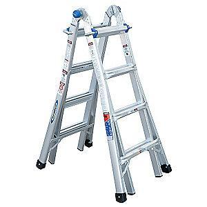 Werner Aluminum Multipurpose Ladder, 15 ft. Extended Ladder Height, 300 lb. Load Capacity
