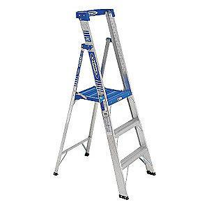 Werner Aluminum Platform Stepladder, 6 ft. Ladder Height, 3 ft. Platform Height, 250 lb.