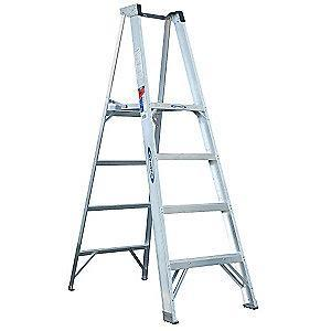 Werner Aluminum Platform Stepladder, 6 ft. Ladder Height, 4 ft. Platform Height, 300 lb.