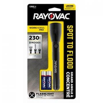 Rayovac Workhorse Pro Spot-To-Flood LED Flashlight, 2AA