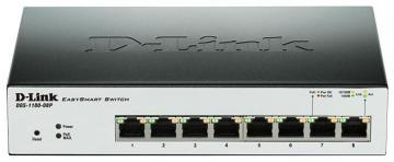D-link 8-Port Gigabit PoE Smart Managed Switch - 8x PoE Ports, Fanless