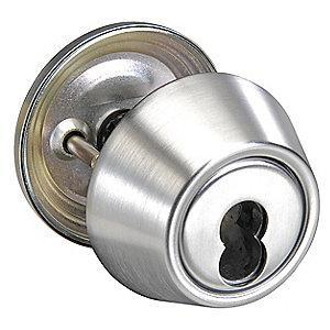Yale Satin Chrome D-Series Deadbolt, Single, Less SFIC Core-Cylinder