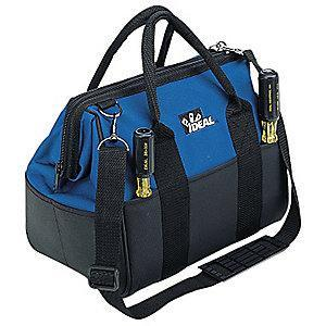 "Ideal 18-Pocket Polyester General Purpose Tool Bag, 13""H x 12""W x 9""D, Black"