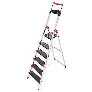 "Hailo Aluminum Platform Stepladder, 6 ft. 1"" Ladder Height, 4 ft. Platform Height, 330 lb."