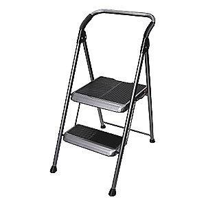 "Werner Steel Folding Step, 44"" Overall Height, 250 lb. Load Capacity, Steps: 2"