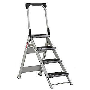 "Westward Aluminum Folding Step, 36"" Overall Height, 300 lb. Load Capacity, Steps: 4"