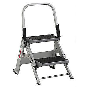 "Westward Aluminum Folding Step, 18"" Overall Height, 300 lb. Load Capacity, Steps: 2"