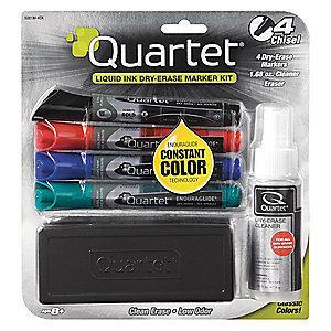 Quartet Chisel-Tip Dry Erase Marker Set, Blue, Black, Green, Red, 4 PK