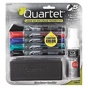 Quartet Fine-Tip Dry Erase Marker Set, Blue, (2) Black, Green, Red, 5 PK