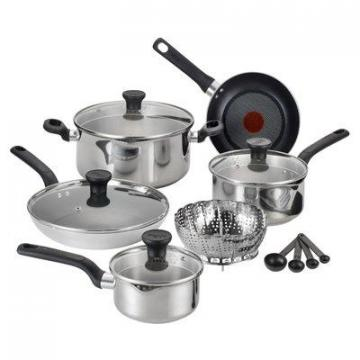 T-Fal Excite Cookware Set, Stainless Steel, 14-Pc.