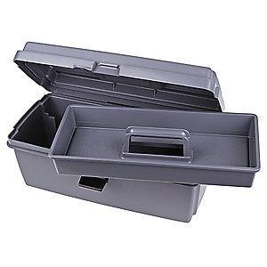 "Flambeau Copolymer Portable Tool Box, 7-1/8""H x 16-5/8""W x 8-3/4"", Gray"