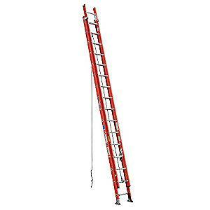 Werner 32 ft. Fiberglass Extension Ladder, 300 lb. Load Capacity, 71.5 lb. Net Weight