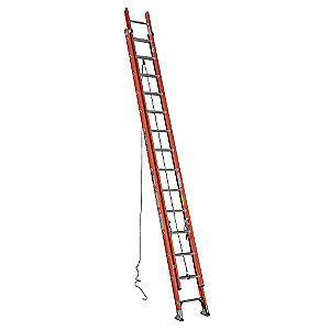 Werner 28 ft. Fiberglass Extension Ladder, 300 lb. Load Capacity, 59.5 lb. Net Weight